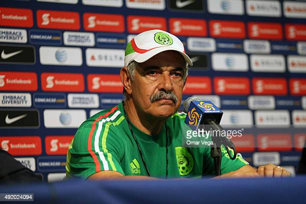 Ricardo Ferretti coach of Mexico speaks during a Mexico press conference at Rose Bowl Stadium on October 09 2015 in Pasadena United States