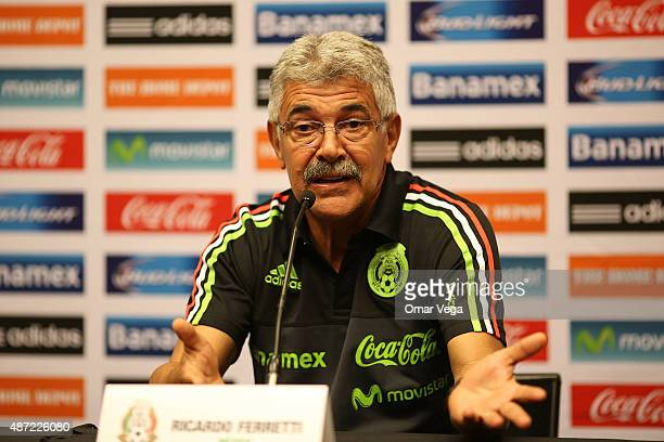 Ricardo Ferretti coach of Mexico speaks during a press conference at W Dallas Victory on September 07 2015 in Dallas United States
