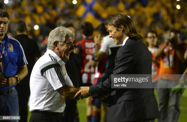 Ricardo Ferretti coach of Tigres and Matias Almeyda coach of Chivas shake hands prior the Final first leg match between Tigres UANL and Chivas as...