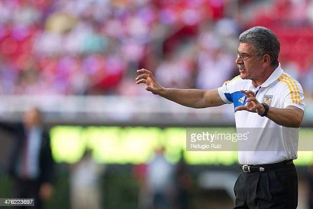 Ricardo Ferretti coach of Tigres gives instructions to his players during a match between Chivas and Tigres UANL as part of the round 9 of Clausura...