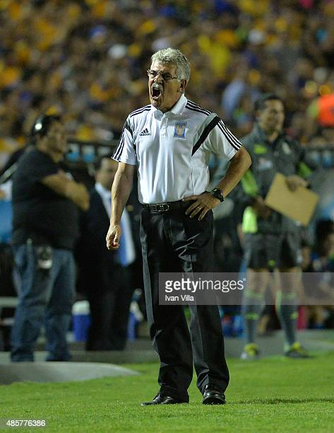 Ricardo Ferretti coach of Tigres gives instructions to his players during a 7th round match between Tigres UANL and Queretaro as part of the Apertura...