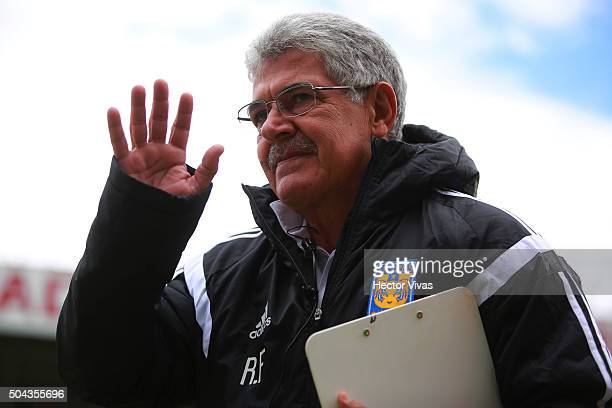 Ricardo Ferretti coach of Tigres greets fans during the 1st round match between Toluca and Tigres UANL as part of the Clausura 2016 Liga MX at...