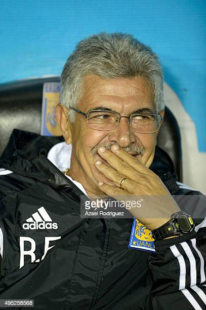 Ricardo Ferretti coach of Tigres smiles prior to the 15th round match between Tigres UANL and Santos Laguna as part of the Apertura 2015 Liga MX at...