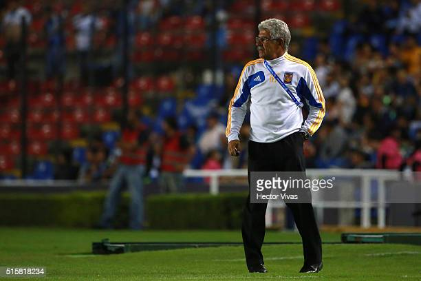 Ricardo Ferretti Coach of Tigres walks on the sideline during the semifinal first leg match between Queretaro and Tigres UANL as part of the CONCACAF...