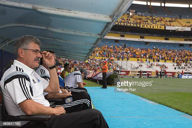 Ricardo Ferretti coach of Tigres watches the game during a match between Leones Negros and Tigres UANL as part of 9th round Clausura 2015 Liga MX at...
