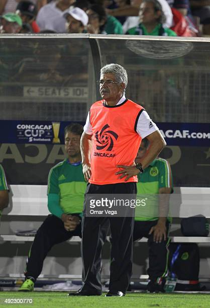 Ricardo Ferretti head coach of Mexico gestures during a FIFA Confederations Cup Qualifier match between USA and Mexico at Rose Bowl Stadium on...