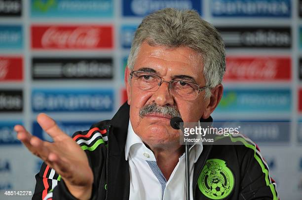 Ricardo Ferretti head coach of Mexico gestures during a press conference to unveil him as new coach of Mexico's national soccer team at Alto...
