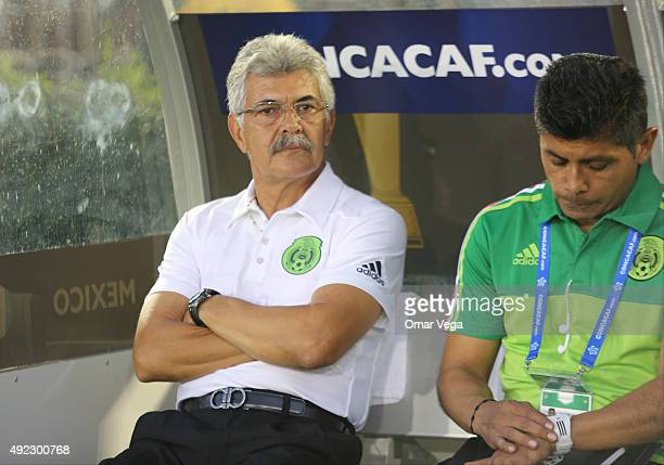 Ricardo Ferretti head coach of Mexico looks on during a FIFA Confederations Cup Qualifier match between USA and Mexico at Rose Bowl Stadium on...