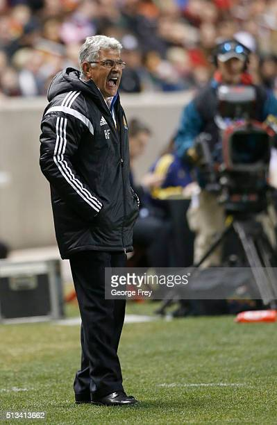Ricardo Ferretti head coach of Tigres shouts instructions to his players during the quarterfinals second leg match between Real Salt Lake and Tigres...