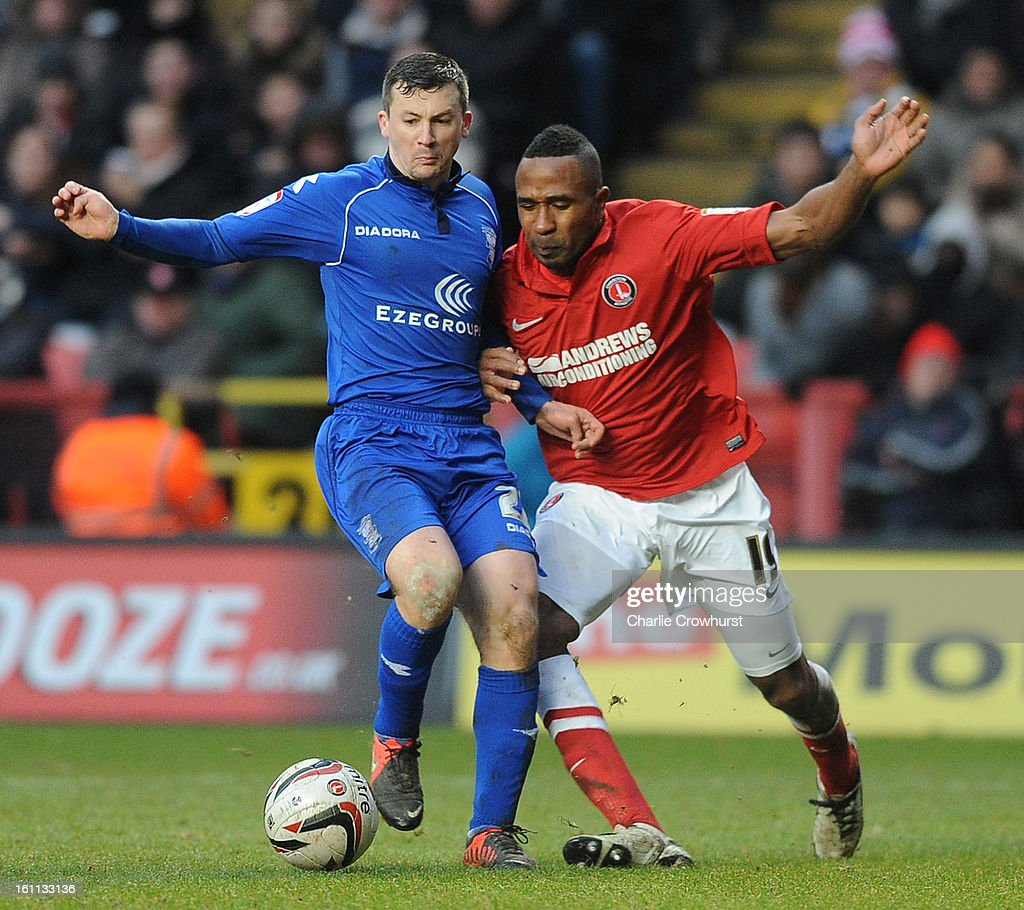 Ricardo Fuller of Charlton battles with Paul Caddis of Birmingham during the npower Championship match between Charlton Athletic and Birmingham City at The Valley on February 09, 2013 in London England.