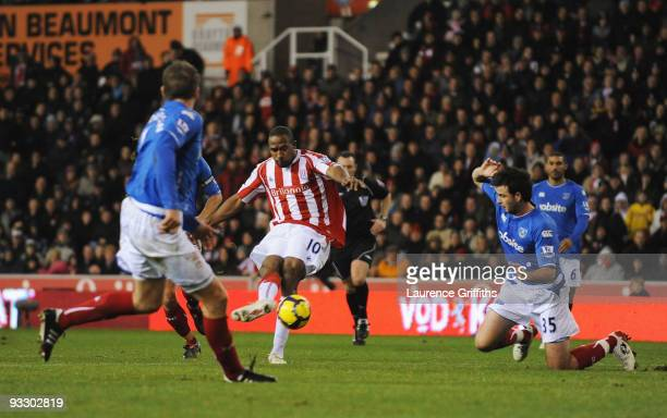 Ricardo Fuller of Stoke scores during the Barclays Premier League match between Stoke City and Portsmouth at The Britannia Stadium on November 22...