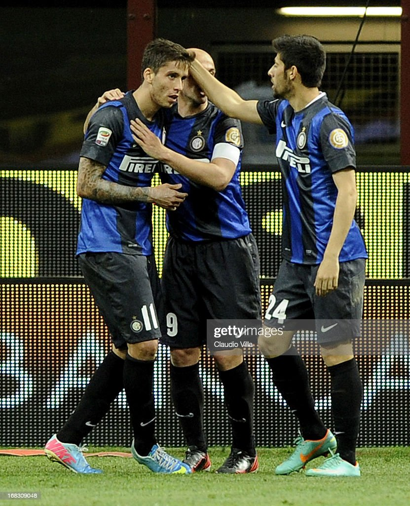 Ricardo Gabriel Alvarez (L) of FC Inter celebrates scoring the first goal during the Serie A match between FC Internazionale Milano and S.S. Lazio at San Siro Stadium on May 8, 2013 in Milan, Italy.