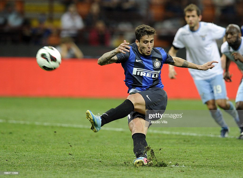 Ricardo Gabriel Alvarez of FC Inter misses a penalty during the Serie A match between FC Internazionale Milano and S.S. Lazio at San Siro Stadium on May 8, 2013 in Milan, Italy.
