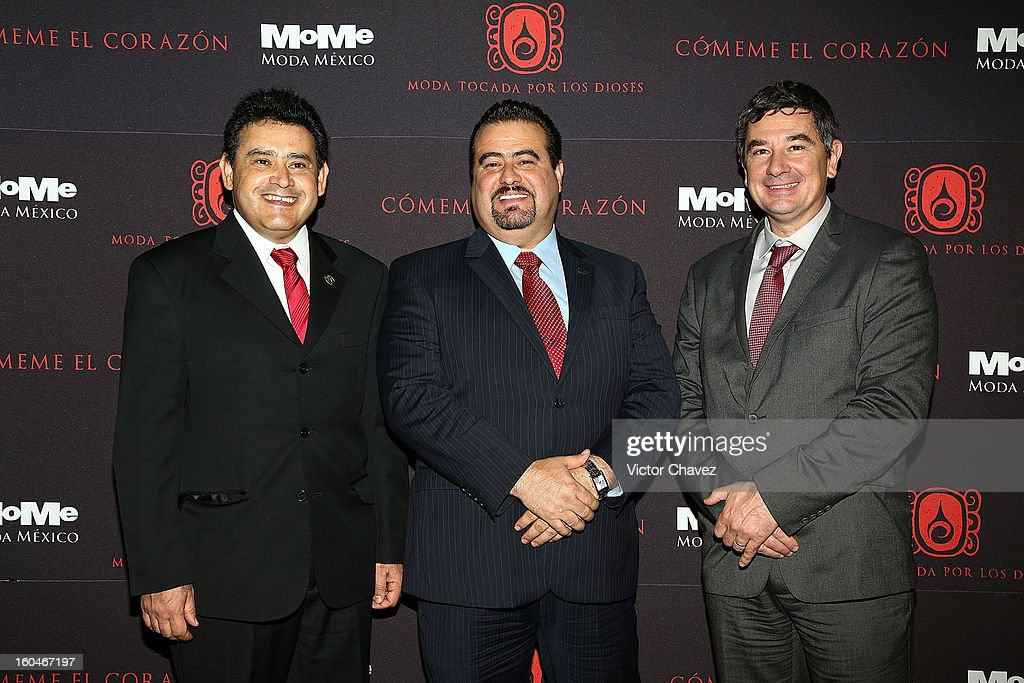 Ricardo Gallardo, Carlo Benedetti and Ysmael Lopez attend the Comeme El corazon Moda Tocada Por Los Dioses event at Estacion Indianilla on January 31, 2013 in Mexico City, Mexico.