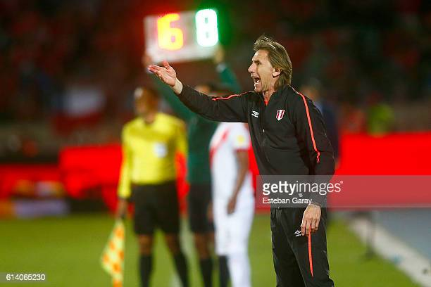 Ricardo Gareca coach of Peru gestures during a match between Chile and Peru as part of FIFA 2018 World Cup Qualifier at Nacional Julio Martinez...