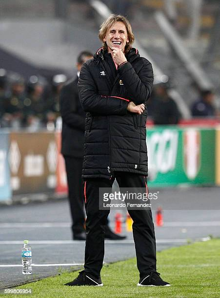 Ricardo Gareca coach of Peru gestures during a match between Peru and Ecuador as part of FIFA 2018 World Cup Qualifiers at Nacional Stadium on...
