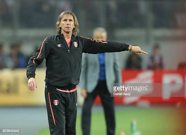 Ricardo Gareca coach of Peru gives instructions during a match between Peru and Brazil as part of FIFA 2018 World Cup Qualifiers at Nacional Stadium...