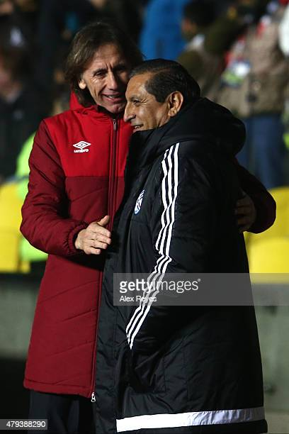 Ricardo Gareca coach of Peru greets Ramon Diaz coach of Paraguay during the 2015 Copa America Chile Third Place Playoff match between Peru and...