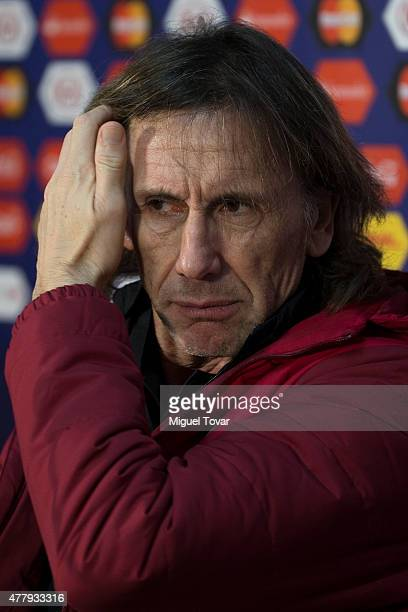 Ricardo Gareca coach of Peru looks on during a press conference at German Becker Stadium on June 20 2015 in Temuco Chile Peru will face Colombia on...