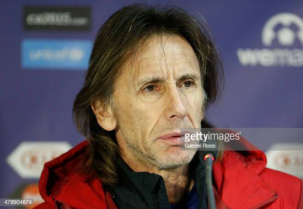 Ricardo Gareca coach of Peru looks on during a press conference prior to the semi final match against Chile at Nacional Stadium as part of 2015 Copa...