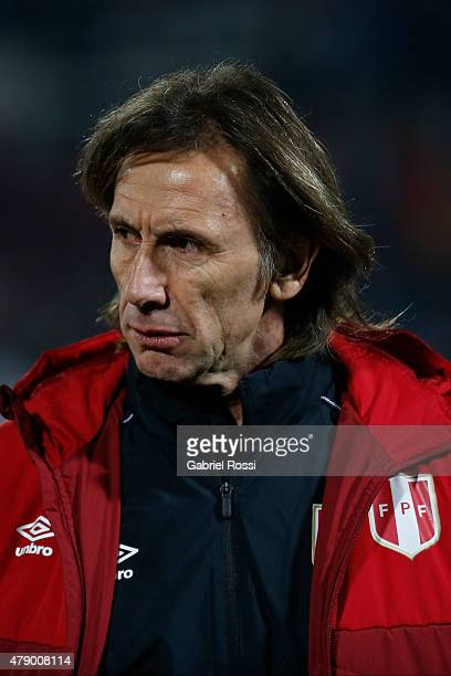 Ricardo Gareca coach of Peru looks on during the 2015 Copa America Chile Semi Final match between Chile and Peru at Nacional Stadium on June 29 2015...