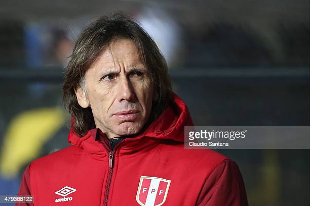 Ricardo Gareca coach of Peru looks on during the 2015 Copa America Chile Third Place Playoff match between Peru and Paraguay at Ester Roa Rebolledo...