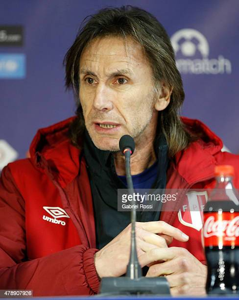 Ricardo Gareca coach of Peru talks during a press conference prior to the semi final match against Chile at Nacional Stadium as part of 2015 Copa...