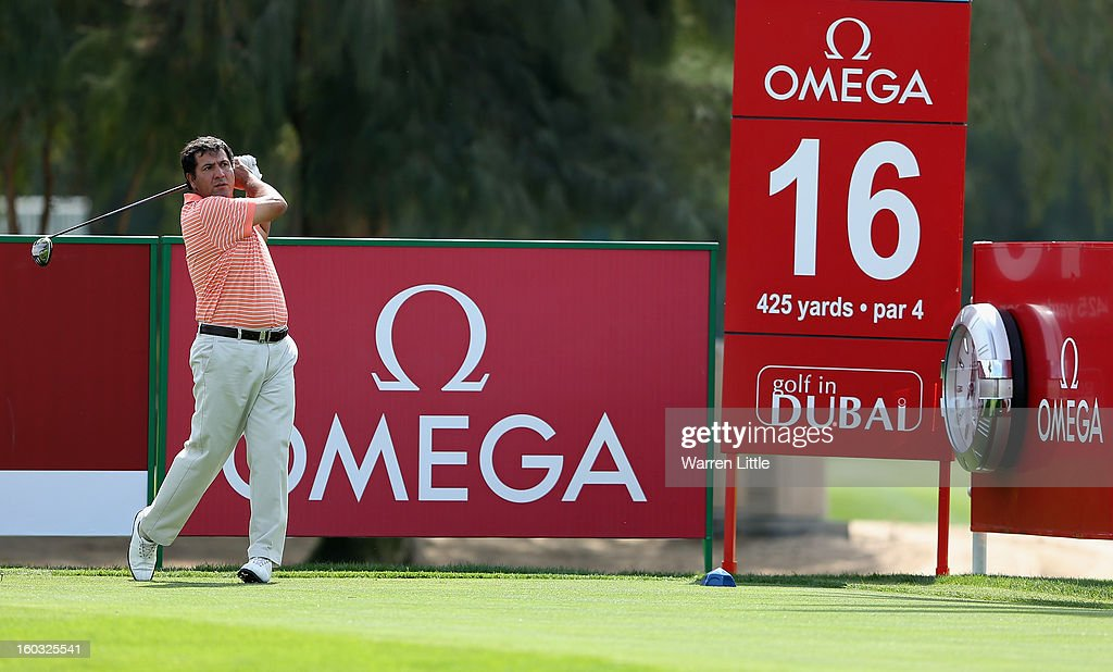 Ricardo Gonzales of Argentina in action during a practice round ahead of the Omega Dubai Desert Classic on January 29, 2013 in Dubai, United Arab Emirates.
