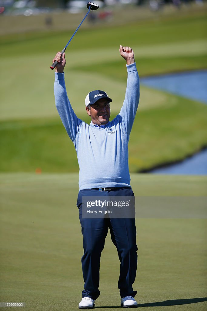 <a gi-track='captionPersonalityLinkClicked' href=/galleries/search?phrase=Ricardo+Gonzalez&family=editorial&specificpeople=240556 ng-click='$event.stopPropagation()'>Ricardo Gonzalez</a> of Argentina celebrates after holing a putt to birdy the eighteenth hole on day two of the Nordea Masters at the PGA Sweden National on June 5, 2015 in Malmo, Sweden.