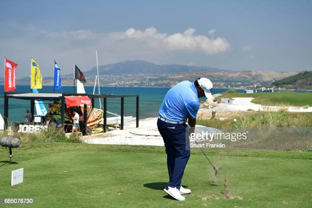Ricardo Gonzalez of Argentina hits his tee shot of the 15th hole during the second round of The Rocco Forte Open at The Verdura Golf and Spa Resort...