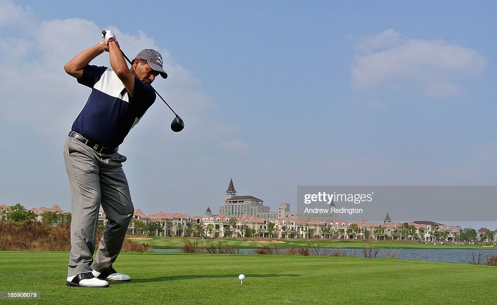 Ricardo Gonzalez of Argentina hits his tee-shot on the ninth hole during the third round of the BMW Masters at Lake Malaren Golf Club on October 26, 2013 in Shanghai, China.