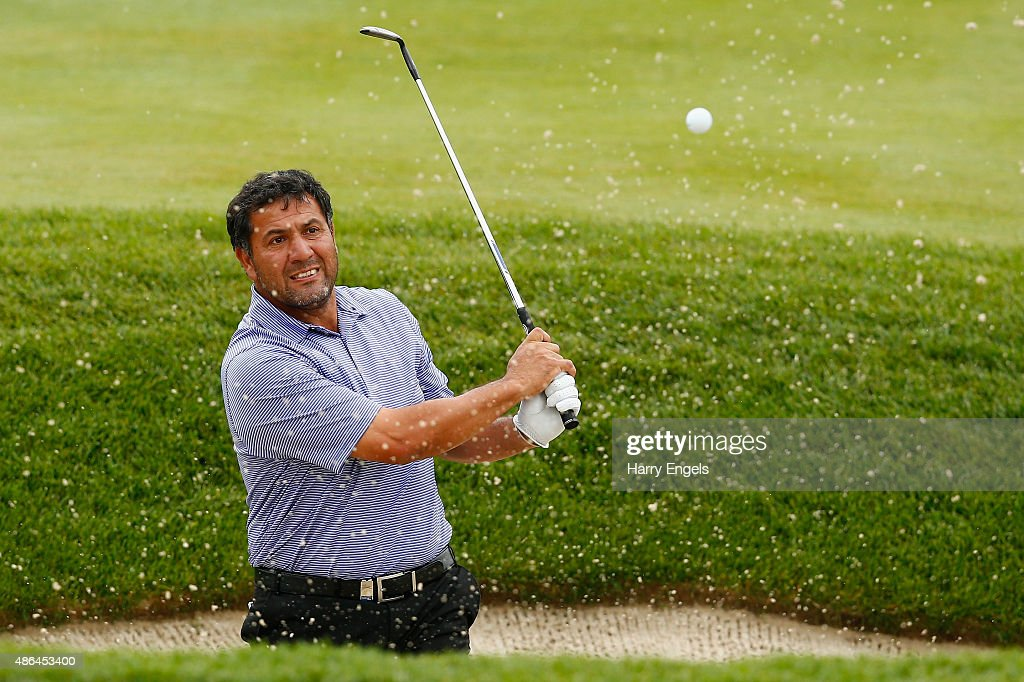 <a gi-track='captionPersonalityLinkClicked' href=/galleries/search?phrase=Ricardo+Gonzalez&family=editorial&specificpeople=240556 ng-click='$event.stopPropagation()'>Ricardo Gonzalez</a> of Argentina plays out of a bunker on the eleventh hole on day two of the M2M Russian Open at Skolkovo Golf Club on September 4, 2015 in Moscow, Russia.