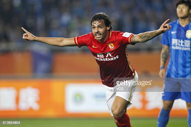 Ricardo Goulart of Guangzhou Evergrande celebrates a point during the 2016 CFA Super Cup between Guangzhou Evergrande FC and Jiangsu Suning FC at...