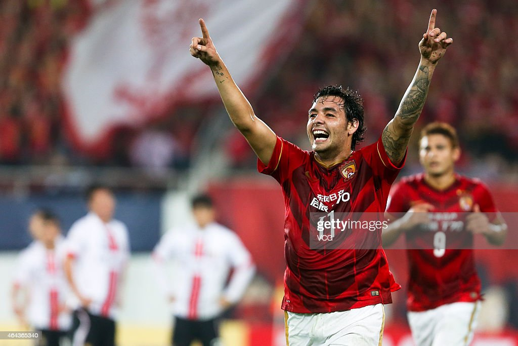 Ricardo Goulart Pereira of Guangzhou Evergrande celebrate his goal during the AFC Asian Champions League match between Guangzhou Evergrande and...
