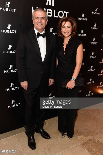 Ricardo Guadalupe and Natasha Kaplinsky attend Hublot 'Classic Fusion Chronograph Prince's Trust' launch at The Orangery Kensington Palace on April...