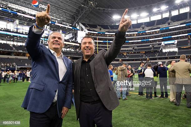 Ricardo Guadalupe and Rick De La Croix walk on the field as Hublot unveils the Big Bang Dallas Cowboys timepieces at ATT Stadium on November 1 2015...