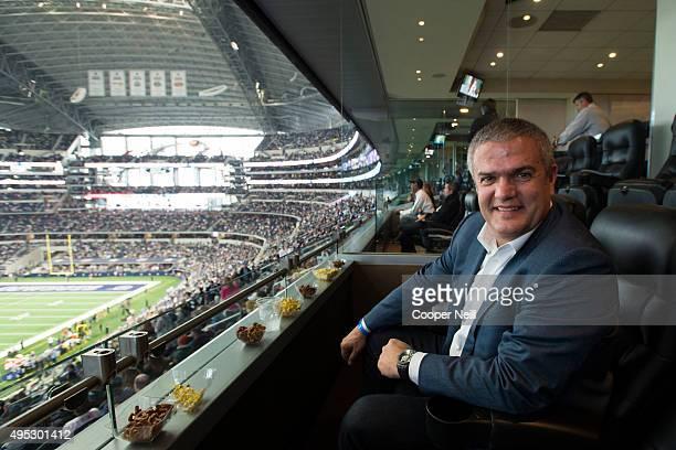 Ricardo Guadalupe poses for a photo as Hublot unveils the Big Bang Dallas Cowboys timepieces at ATT Stadium on November 1 2015 in Arlington Texas
