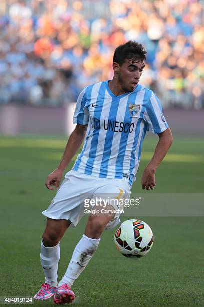 Ricardo Horta of Malaga CF runs whit the ball during the La Liga match between Malaga CF and Athletic Club Bilbao at La Rosaleda Stadium on August 23...