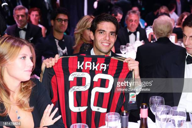 Ricardo Kaka and Barbara Berlusconi attend the amfAR Milano 2013 Gala Dinner as part of Milan Fashion Week Womenswear Spring/Summer 2014 at La...