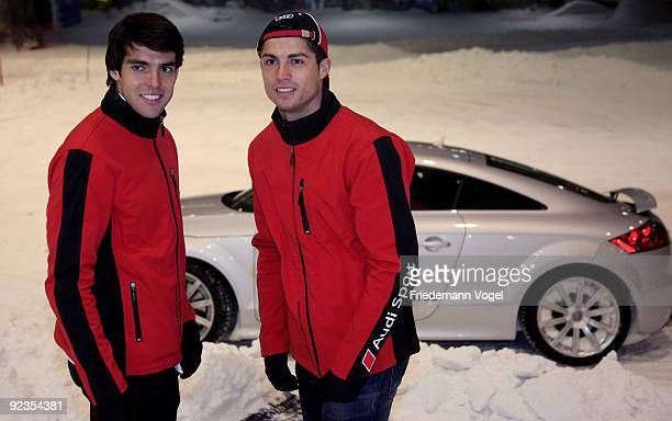 Ricardo Kaka and Cristiano Ronaldo looks on during the Audi Car Handover and Snow Driving Experience with Real Madrid at the Snowzone on October 26...