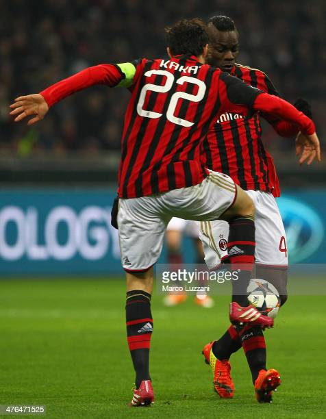 Ricardo Kaka and Mario Balotelli of AC Milan in action during the UEFA Champions League Round of 16 match between AC Milan and Club Atletico de...