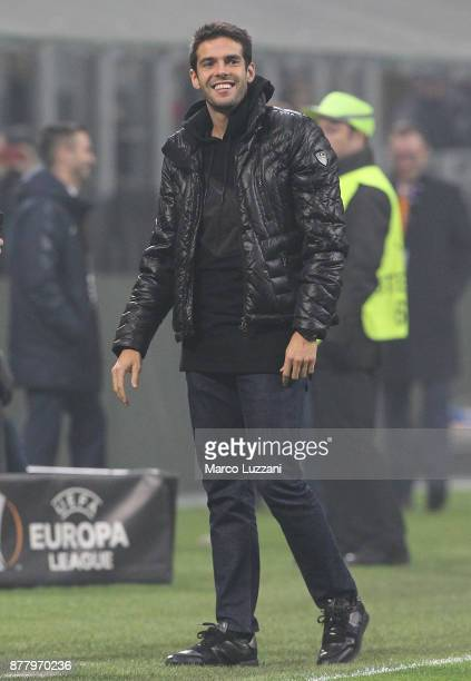 Ricardo Kaka looks on during the UEFA Europa League group D match between AC Milan and Austria Wien at Stadio Giuseppe Meazza on November 23 2017 in...