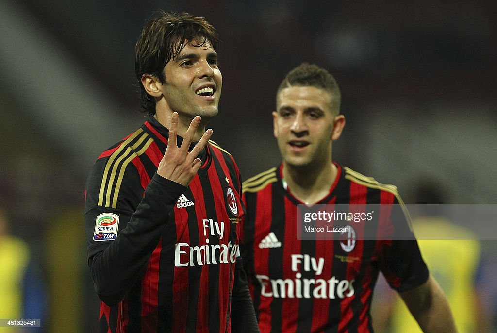 Ricardo Kaka of AC Milan celebrates after scoring his goal during the Serie A match between AC Milan and AC Chievo Verona at San Siro Stadium on March 29, 2014 in Milan, Italy.