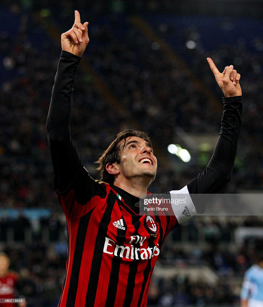 Ricardo Kaka of AC Milan celebrates after scoring the opening goal during the Serie A match between SS Lazio and AC Milan at Stadio Olimpico on March 23, 2014 in Rome, Italy.