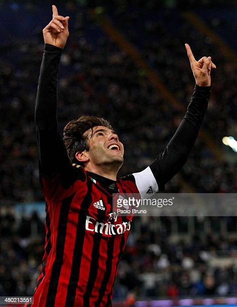Ricardo Kaka of AC Milan celebrates after scoring the opening goal during the Serie A match between SS Lazio and AC Milan at Stadio Olimpico on March...