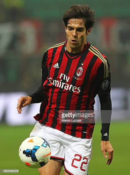 Ricardo Kaka of AC Milan in action during the Serie A match between AC Milan and Udinese Calcio at Giuseppe Meazza Stadium on October 19 2013 in...