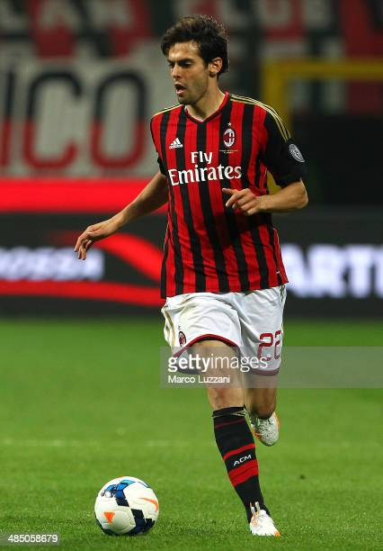 Ricardo Kaka of AC Milan in action during the Serie A match between AC Milan and Calcio Catania at San Siro Stadium on April 13 2014 in Milan Italy