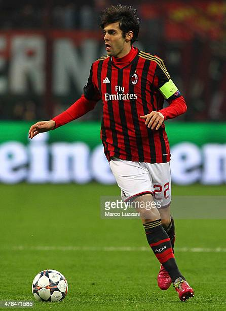 Ricardo Kaka of AC Milan in action during the UEFA Champions League Round of 16 match between AC Milan and Club Atletico de Madrid at Stadio Giuseppe...