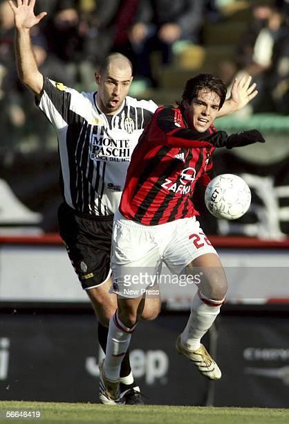 Ricardo Kaka of Milan beats Igor Tudor of Siena during the Serie A match between Siena and AC Milan at the Stadio Artemio Franchi on January 22 2006...