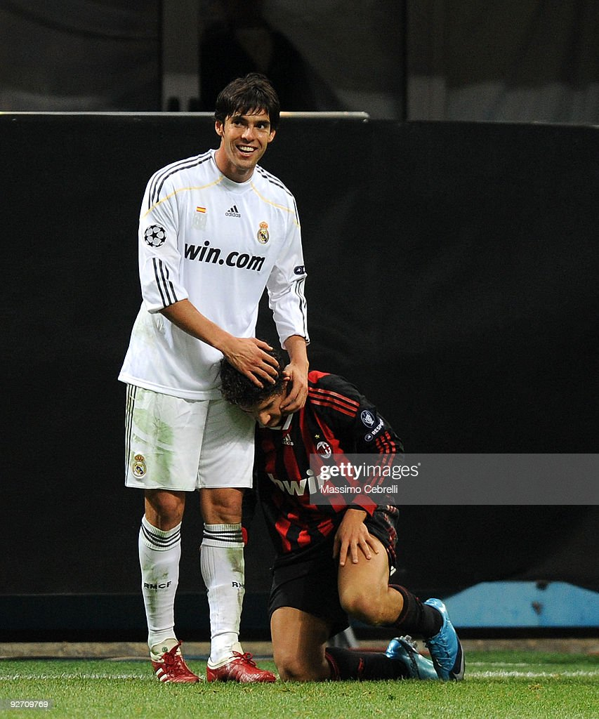 Ricardo Kaka of Real Madrid hugs Alexandre Pato of AC Milan during the UEFA Champions League group C match between AC Milan and Real Madrid at the Stadio Giuseppe Meazza on November 3, 2009 in Milan, Italy.